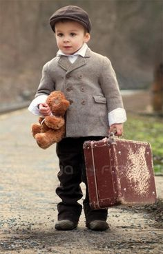 "Travelin' Man! ~ <3 ~ (remember packing my teddy bear in my tiny suitcase & ""running away"" when I was 4 or 5... hid under my grandmother's porch for 30 minutes or so) ~ ALW"