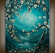 Paintings Tree Flower Abstract MODERN FINE ART Turquoise ... | Art