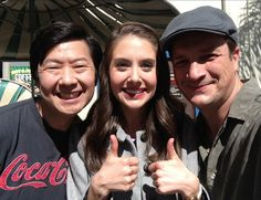Ken Jeong and Allison Brie (Community) with Nathan Fillion