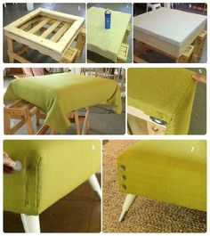 Beautiful DIY Ottoman { From a Pallet and a Mattress Topper! } - New ideas Reupholster Furniture, Diy Pallet Furniture, Refurbished Furniture, Furniture Upholstery, Repurposed Furniture, Furniture Projects, Furniture Makeover, Diy Storage Ottoman, Diy Ottoman