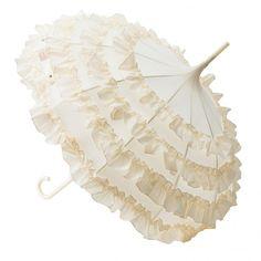 Lisbeth Dahl Bryllupsparaply, creme med 4 flæserækker | 249,-