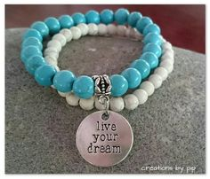 Check out this item in my Etsy shop https://www.etsy.com/listing/229149430/stackable-bracelets-turquoise-howlite