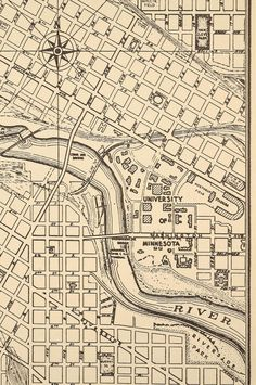 Vintage Map Of Minneapolis Minnesota By SuperiorCraftCompany - Vintage minneapolis map