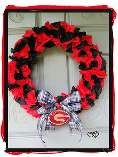 #UGA Black and Red  #Georgia College Football Wreath