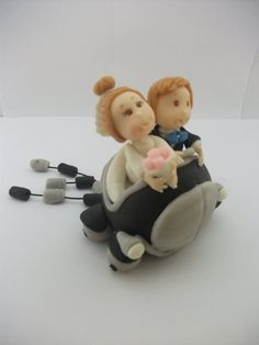 #Wedding Cake topper.   This is an example of a custom made Wedding Cake topper that I created, Bride and Groom in car. I can customize the dress and tux just for you!   ... #decoration #new #wedding