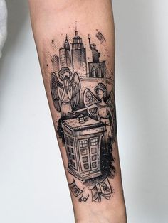 """Robson Carvalho > The Angels Take Manhattan (Doctor Who) Black Ink Tattoos, Pin Up Tattoos, Dream Tattoos, Black And Grey Tattoos, Body Art Tattoos, Tattoo Ink, Male Tattoo, Tatoos, Doctor Tattoo"
