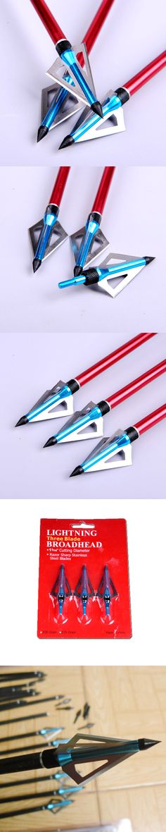 3Pcs/ pack 100 Grain Hunting Crossbow Arrow Broadhead with 3 Fixed Blades for Bow Archery