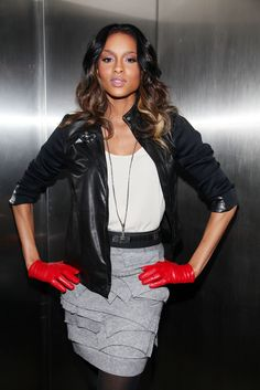 ciara -- love THE shirt! Ciara Style, Style Me, Ciara Wilson, Leather Skirt, Leather Jacket, Red Gloves, Celebs, Celebrities, Record Producer