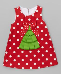 Look at this Dark Red Polka Dot Tree Shift Dress - Infant & Toddler on #zulily today!