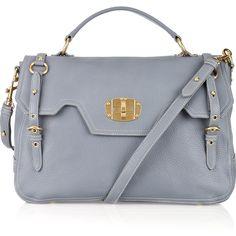 Miu Miu Leather satchel ($735) ❤ liked on Polyvore featuring bags, handbags, bolsas, purses, borse, accessories, white leather handbags, blue leather purse, blue handbags and leather satchel purse