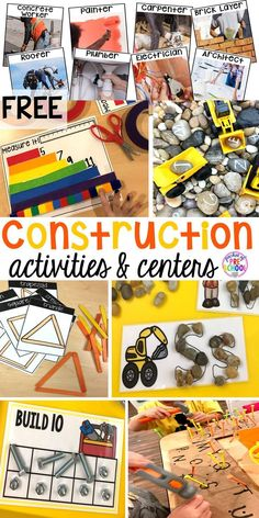 Construction themed centers and activities my preschool & pre-k kiddos will LOVE! (math, letters, sensory, fine motor, & freebies too)  #constructiontheme #preschool #prek #dramaticplay