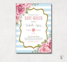 Shabby Chic Baby Shower Invitation. Floral by BlueBunnyPrintables