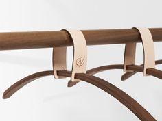 """moodboardmix: """" """"BELT"""" Walnut Coat Rack by Jessica Nebel. W: 100 cm x D: 32 cm x H: 50 cm (Hanger) W: 43 cm x D: 2 cm x H: cm (Hanging bar) """" Pimp Your Bike, Belt Hanger, Hangers, Diy Furniture, Furniture Design, Hanging Racks, Hanging Bar, Contract Furniture, Leather Projects"""