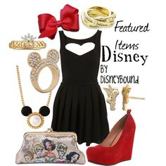Disney OOTD. Little black dress. Red high heels. Snow White semi formal. Evening wear. Apples and jewelry.