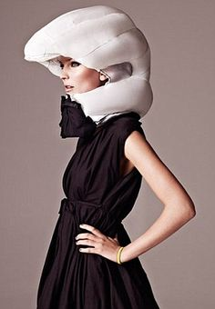 Hm... an inflatable airbag for cyclists that springs into action. Maybe not so haha, but it's more Lady Gaga in appearance?