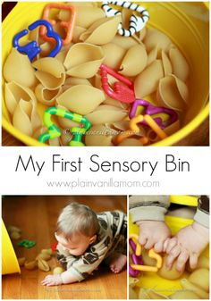 Babies first sensory bin. The first in a series of baby & toddler appropriate sensory bins from Plain Vanilla Mom