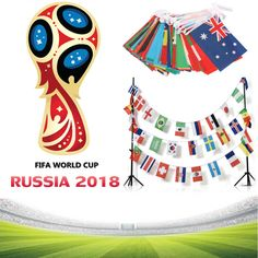 2018 Russian FIFA World Cup 32 Teams String Flag Country Banners Bars Decoration World Cup Russia 2018, World Cup 2018, Fifa World Cup, Bar Decorations, Birthday Decorations, Flag Country, Birthday Blessings, Wimbledon, Discount Price