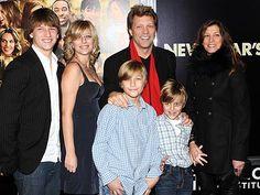 The beautiful Bongiovi family: Jon with Dorthea and kids Jesse, Stephanie, Jacob, and Romeo.
