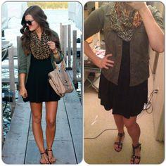 Black Cotton Dress-Ann Taylor Loft Military Jacket-Goodwill Animal Print Scarf-T.J. Maxx Gladiator Sandals-Payless