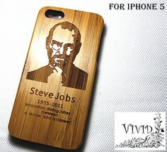 DISCOUNT OVER 35%Off Natural wood iPhone5 case, Steve Jobs iPhone Case 5, bamboo, one piece wooden case, apple idol, US idol