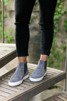 These grey suede pull-on shoes are the perfect cool-meets-classic style for…