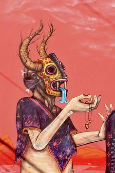 SANER (Edgar Flores) urban Mexican muralist/graffiti artist/graphic designer