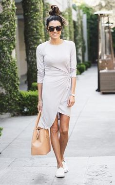 Light Grey Knot Knit Dress