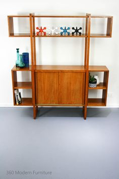 Mid Century Room Divider Wall Unit Bookcase Teak Shelves Retro Vintage Geometric in Home & Garden, Furniture, Other   eBay 360 Modern Furniture