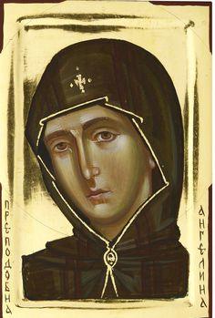 Angelina of Serbia Fresco, Religious Paintings, Byzantine Icons, Religious Images, Orthodox Christianity, Orthodox Icons, Sacred Art, Madonna, Illustration