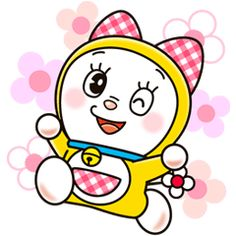 Stickers featuring Doraemon& cute and charming little sister, Dorami! Catch her in all kinds of girly situations - Look! She& playing with Doraemon too! Cartoon Caracters, Doremon Cartoon, Cartoon Sketches, Art Drawings Sketches Simple, Cartoon Images, Easy Drawings, Pencil Drawings, Cartoons Love, Disney Cartoons