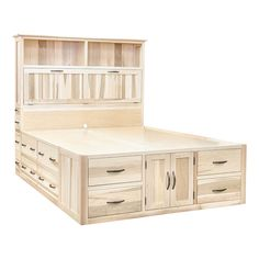 This is the Ultimate Storage Bed. Standard drawers are in the platform plus 3 additional side facing drawers and a convenient pull out shelf. Twin, Full, Queen and king in every wood and style! Request a quote at left and let us know your size. All woods are available.