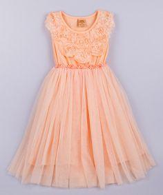 Look at this #zulilyfind! Pink Rosette Bib Tulle Dress - Toddler & Girls by Mia Belle Baby #zulilyfinds
