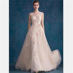 Formal Evening Dress - Pearl Pink A-line/Sheath/Column Jewel Court Train Tulle – USD $ 152.99