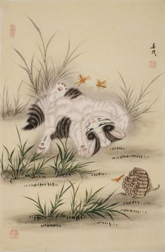 Cats - CNAG000844 Chinese Painting, Hand Painted, Paintings, Cats, Artist, Animals, Style, Swag, Gatos