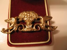 Vintage Brass Brooch Pin Birds Bushel of Wheat Ornate Nashville Estate Jewelry #unbranded