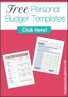 Free Personal Budget Templates! Start your New Year off right - and get your finances on track!