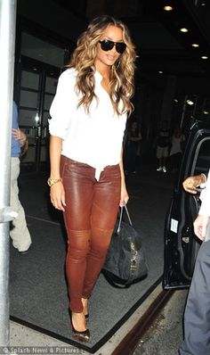 ciara... Love these  brown leather pants! #FASHION
