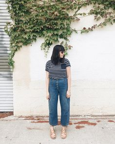 casual monday in stripes from @zady. jeans by @rachelcomey sunglasses from @shopeyeconic!
