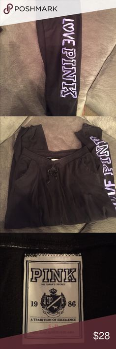 VS PINK sweats Good condition. Worn a few times PINK Victoria's Secret Pants Track Pants & Joggers