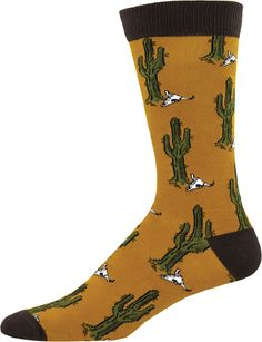 Cool cacti-skull socks know where your heart lies. Remember the Southwest in these soft bamboo crew socks for men, both breezy and moisture wicking.