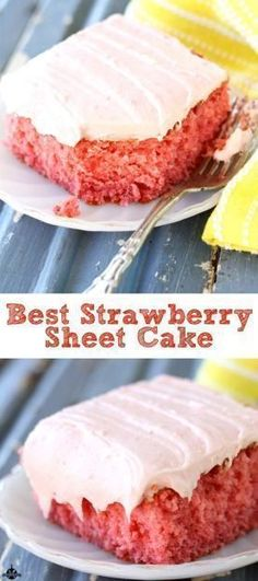 This easy sheet cake recipe of a delicious fresh strawberry cake with strawberry cream cheese frosting is honestly my most favorite strawberry dessert ever!  #easy #recipes #desserts #sheetcake #strawberry #southernbite