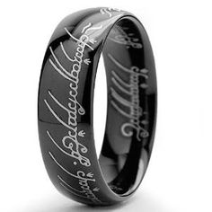 LORD OF THE RINGS High Polish Black Plated Tungsten Carbide Ring  this is super cool