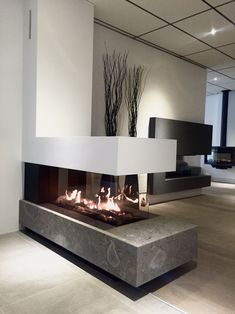 Bellfires room divider large Gas fireplace Nice setup in the showroom of . - Bellfires room divider large Gas fireplace Nice setup in the showroom of … - Lobby Interior, Office Interior Design, Interior Modern, Interior Exterior, Office Interiors, Home Fireplace, Fireplace Design, Fireplace Showroom, Indoor Gas Fireplace