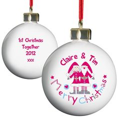 Personalised Christmas Bauble - Couple  from Personalised Gifts Shop - ONLY £9.99