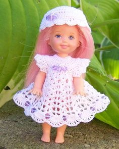 "Barbie's Kelly 4 1/2"" Doll White Dress & Hat with Pale Purple Swarovski Crystals #ClothingShoes"