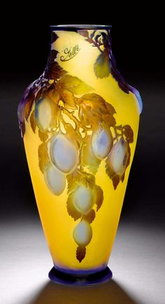 """EMILE GALLE VASE """"Soufflé"""", ca. Yellow glass with violet overlay and etching. Conical vase, decorated with plums. Mouth with small restoration. H 39 cm. Pottery Painting Designs, Pottery Art, Art Deco Design, Glass Design, Galle Vase, Estilo Art Deco, Vases, Art Of Glass, Mellow Yellow"""