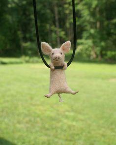 Tiny piglet sculpture / necklace needle felted von motleymutton