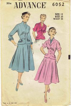 50s New Look Jacket & Skirt Suit Pattern Advance by MiAbDryGoods