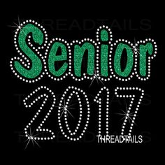 Glitter and rhinestone Senior 2017 shirt. For Class of 2017 by Threadtails