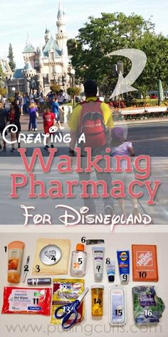 What to Bring to Disneyland: Amusement Park Walking Pharmacy Wondering what to put in your Disney bag? This walking pharmacy will have you family prepared for a day at the happinest place on earth! Walt Disney World, Disney Day, Disney World Vacation, Disney Vacations, Disney Travel, Disney Family, Disney Cruise, Family Vacations, Disney Stuff